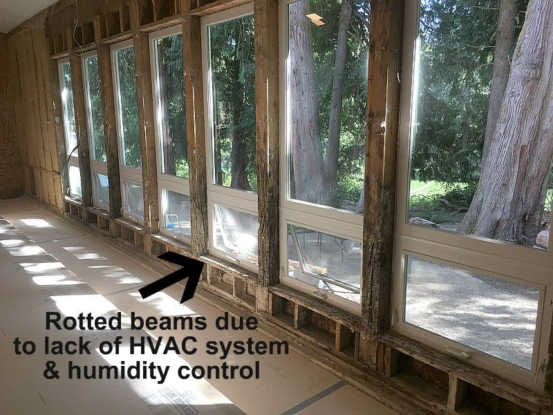 Rotted Beams From Too Much Moisture Due To No Hvac Humidity Control System Indoor Swimming Pools Swimming Pools Remodel