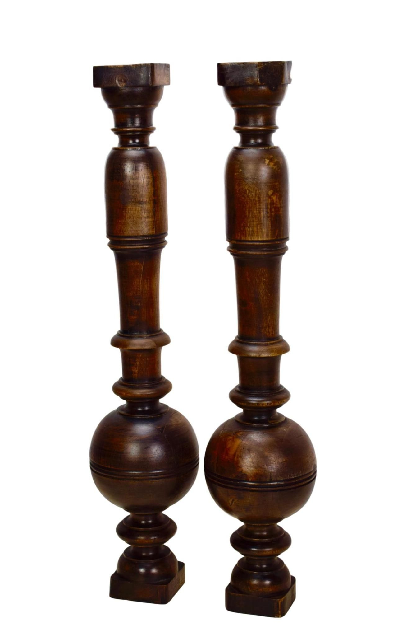 Antique Architectural Pair Carved Wood Louis XIII Trim Posts Pillars