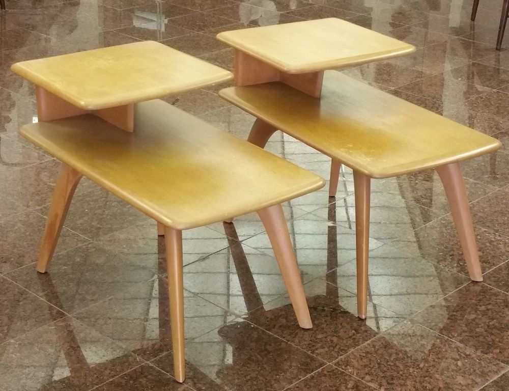2x HEYWOOD WAKEFIELD MID CENTURY MODERN SABER LEG 2 TIER END TABLES  NIGHTSTANDS