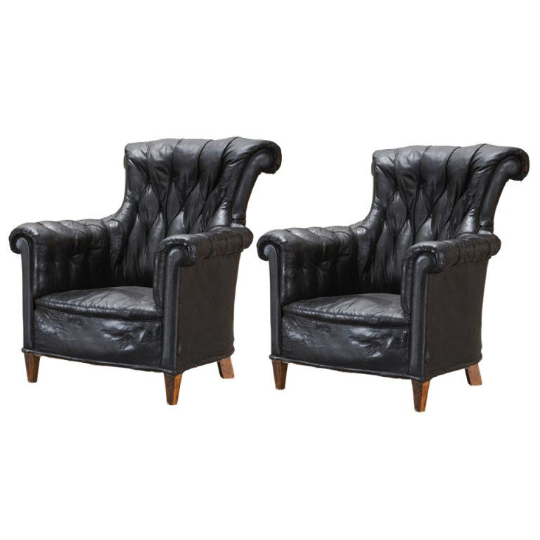 1stdibs English Black Leather Wingback Chairs