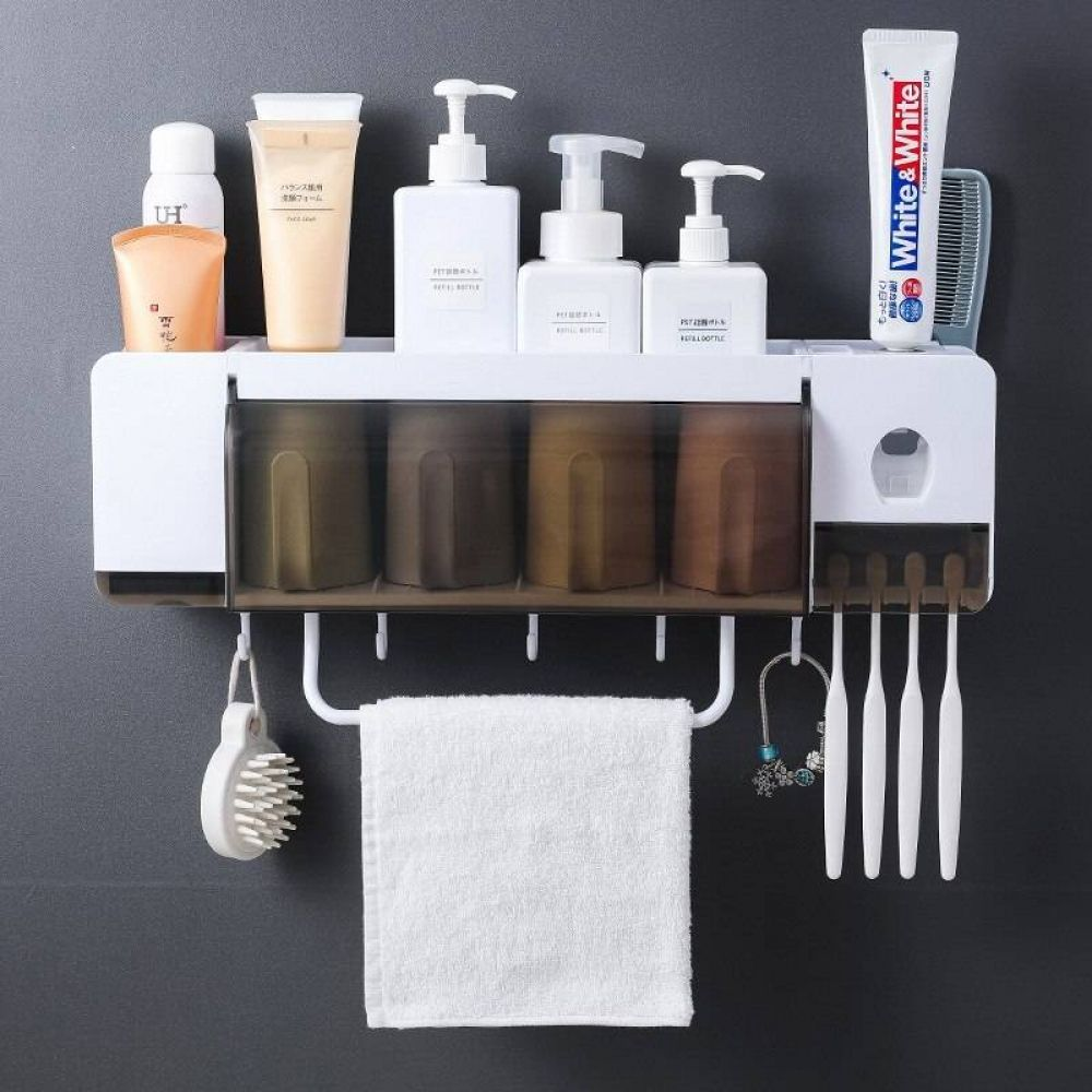 Kitchen Bathroom Toothpaste Rack Holder Shelf Hook Wall Mounted with Bottom hook