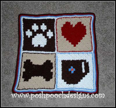 C2C Pixel Graph Dog Blanket Crochet Pattern and Video | Dog crochet ...