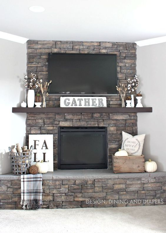 Get Your Fall On {Gorgeous Fall Mantels} - Re-Fabbed #fallmantledecor