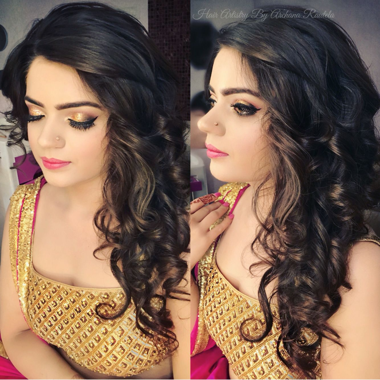 Curls For Girls Indian Party Look Hair Artistry By Archana Rautela Curls For The Girls Beautiful Curls Curls