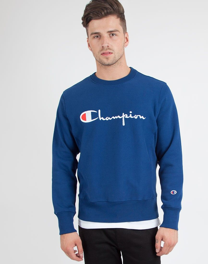 Champion Crew Neck Sweatshirt in Blue | Shop men's clothing at The ...