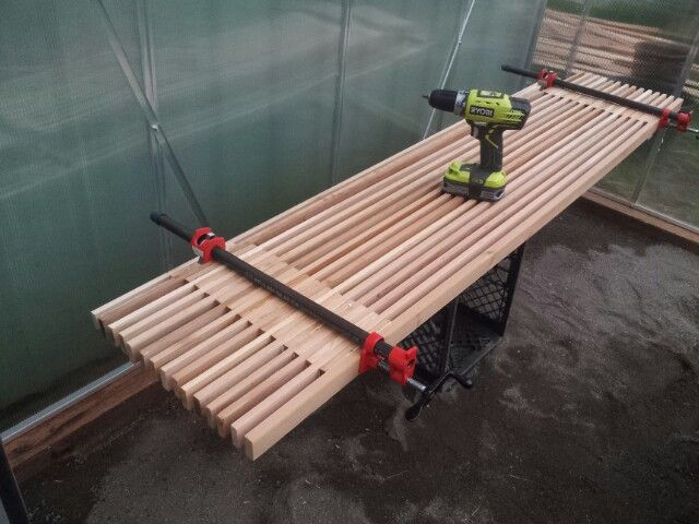 """2""""x14""""x6' benches clamped and drying..."""