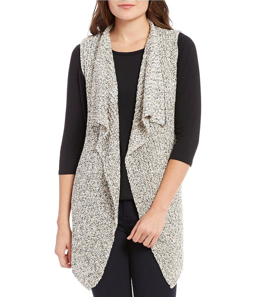 New York Open Drape Front Marled Knit Sweater Vest