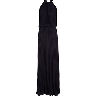 Xscape Navy Pleated Maxi Gown