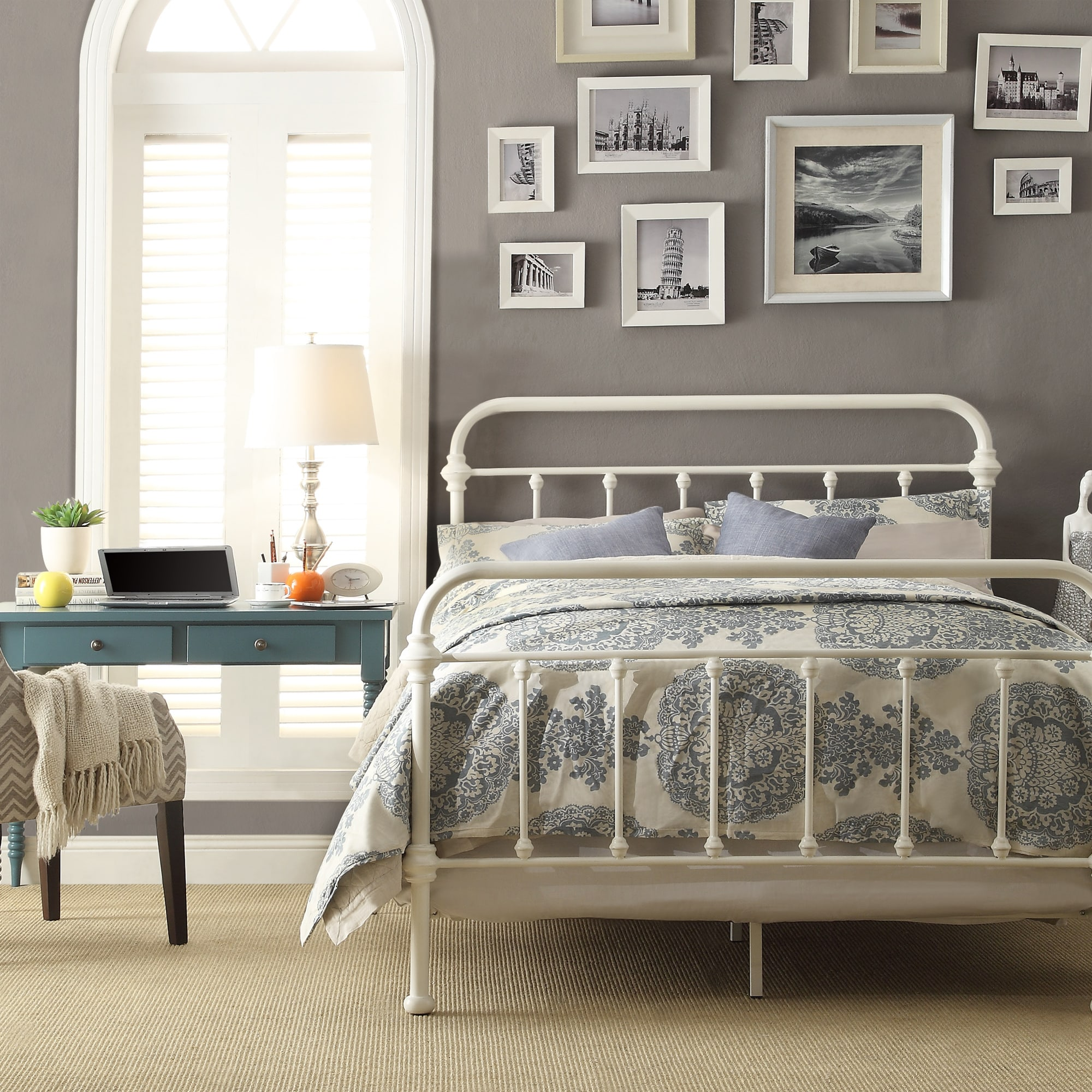 Giselle Antique White Graceful Lines Victorian Iron Metal Bed by iNSPIRE Q  Classic | Overstock.