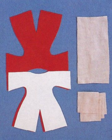 Print the doll template. Fold a 10-by-18-inch piece of washable fabric (for body) end to end, right sides facing; lay template on fabric with dotted lines of shoulders on fold, and cut out along solid lines; pin. From a nearly 10-inch square of cotton jersey (for skin), cut a 3-by-7-inch strip (for head) and four 2-inch squares (for hands and feet).