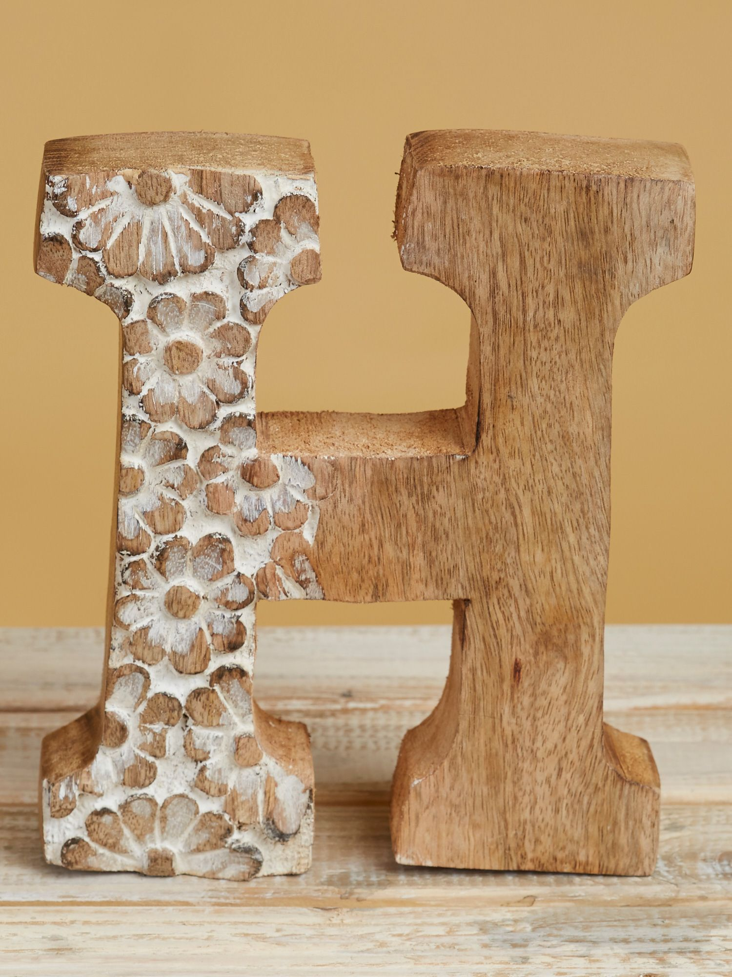 Wood Carved Letter H Shop The Look Products Wood Carving Home