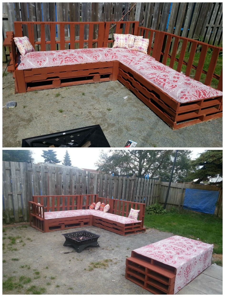 Pallets Sofa Fire Pit Recycled Ideas