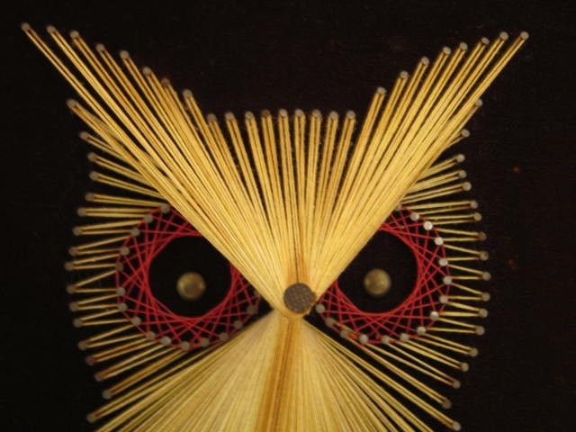 Vintage Large 1970s Mod Owl String Art Wall Hanging by 5thandBroad