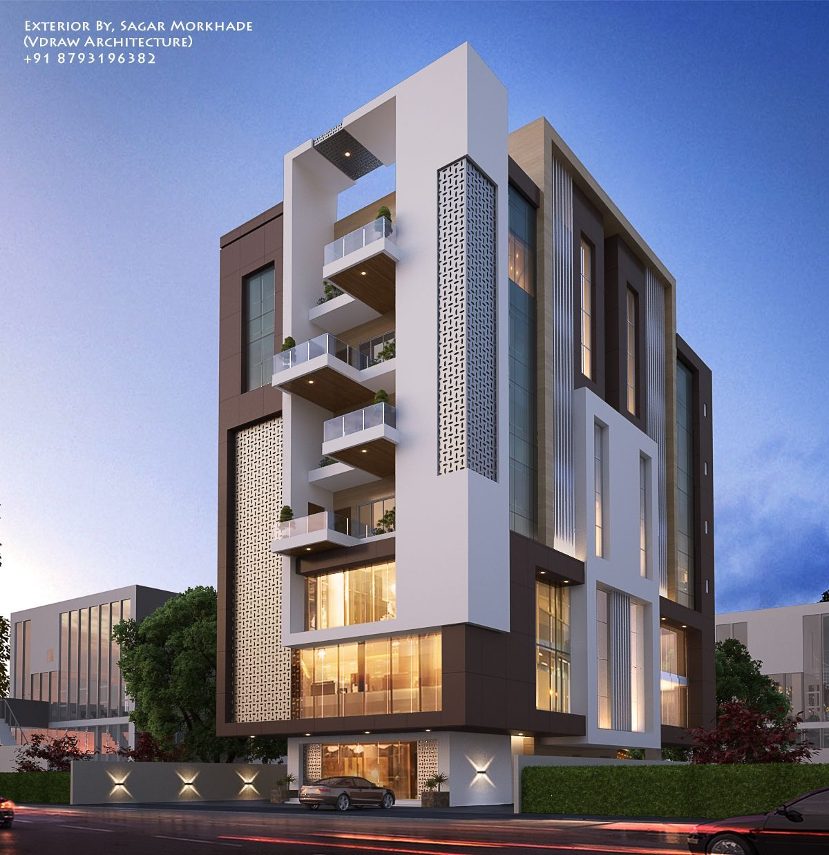 Modern Residential Exterior By Ar Sagar Morkhade: Exterior By, Sagar Morkhade (Vdraw Architecture) +91