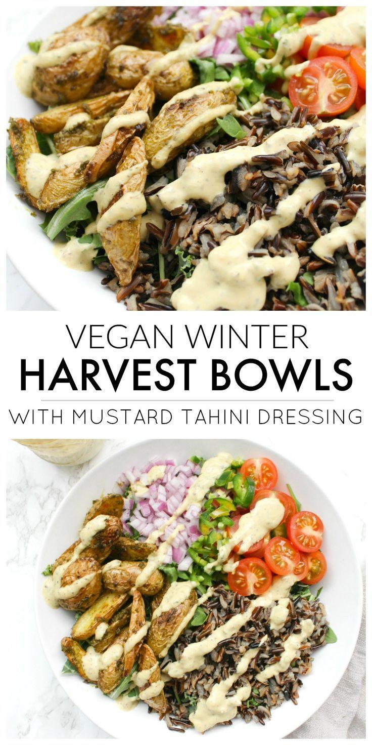 Vegan Winter Harvest Bowls With Mustard Tahini Dressing