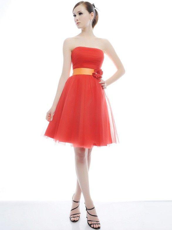 Süße Brautjungfernkleider kurz Lachs Tüll | Outfits | Pinterest ...