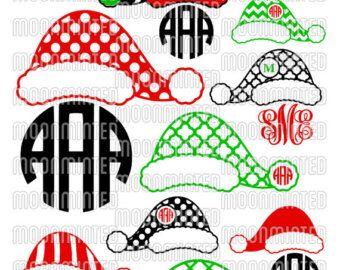 17899200eb591 Christmas Santa Claus Hats SVG Cut Files - Monogram Frames for Vinyl  Cutters