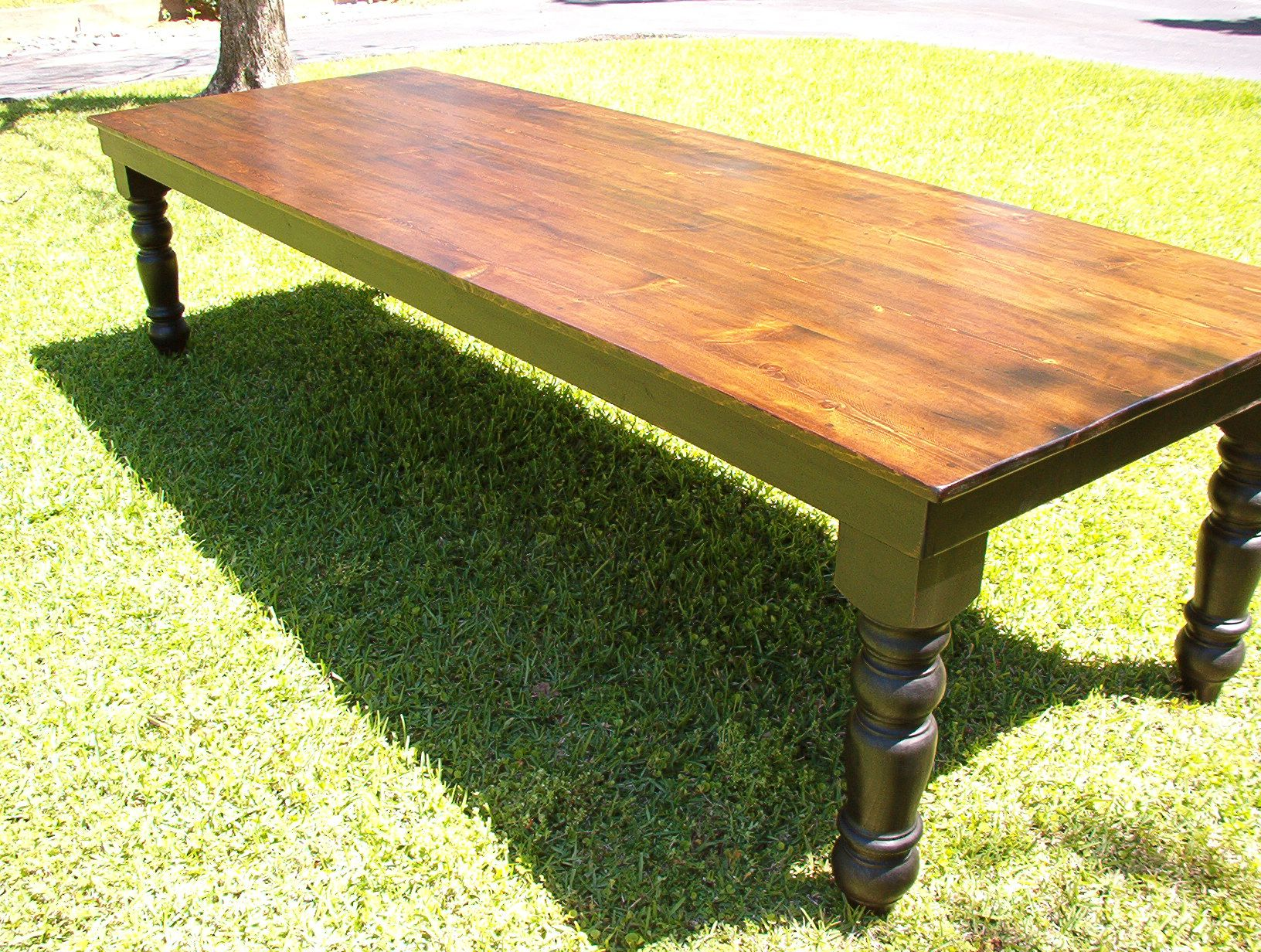 9 Ft Long Harvest Table With Large Turned Legs By Hinz57.com