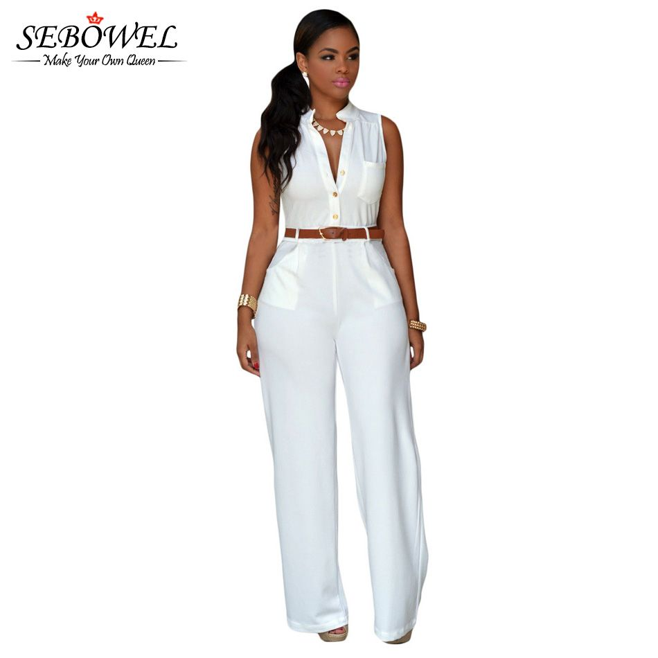 2017 s-xxl white plus size jumpsuits and rompers for women