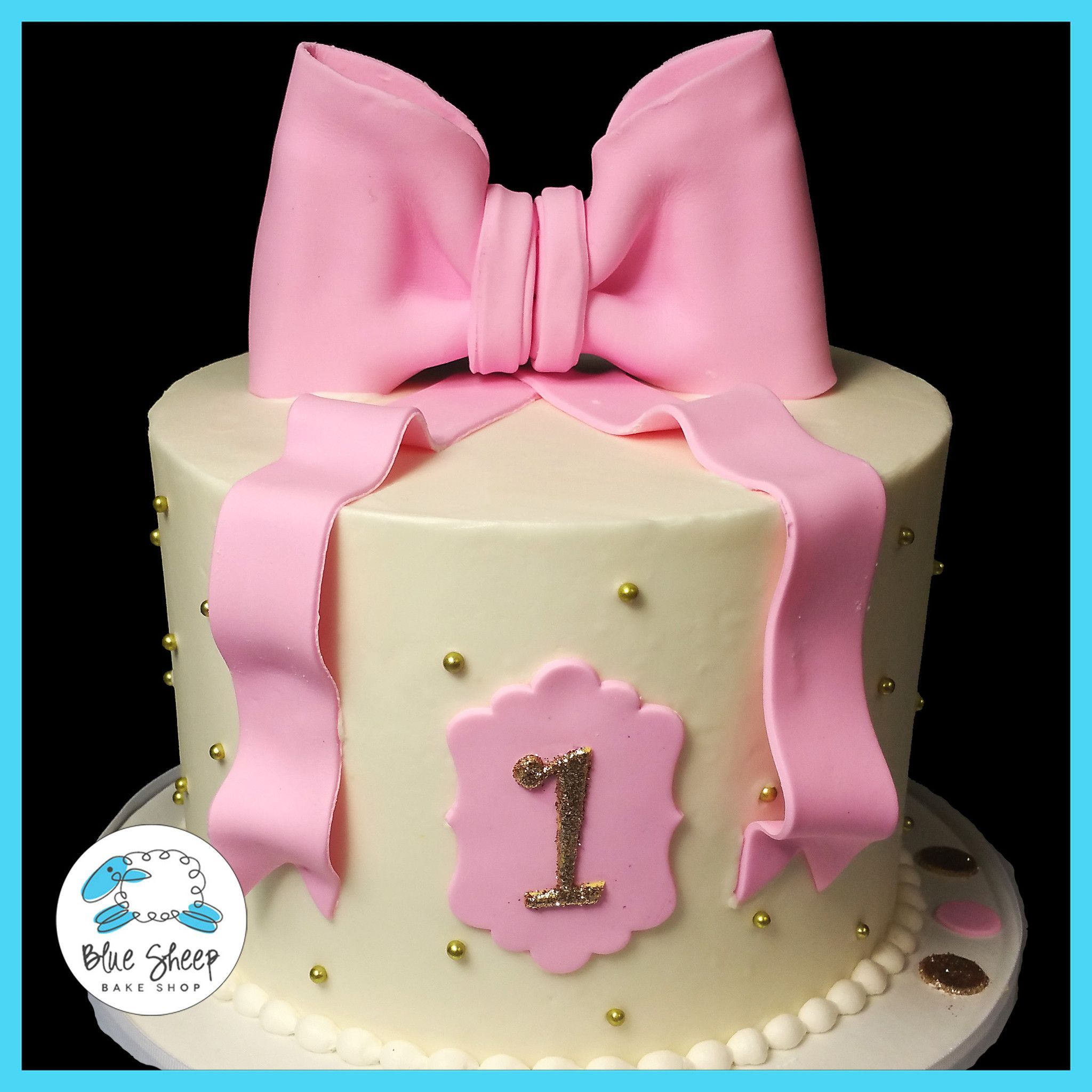 Classic Pink And Gold Buttercream 1st Birthday Cake NJ