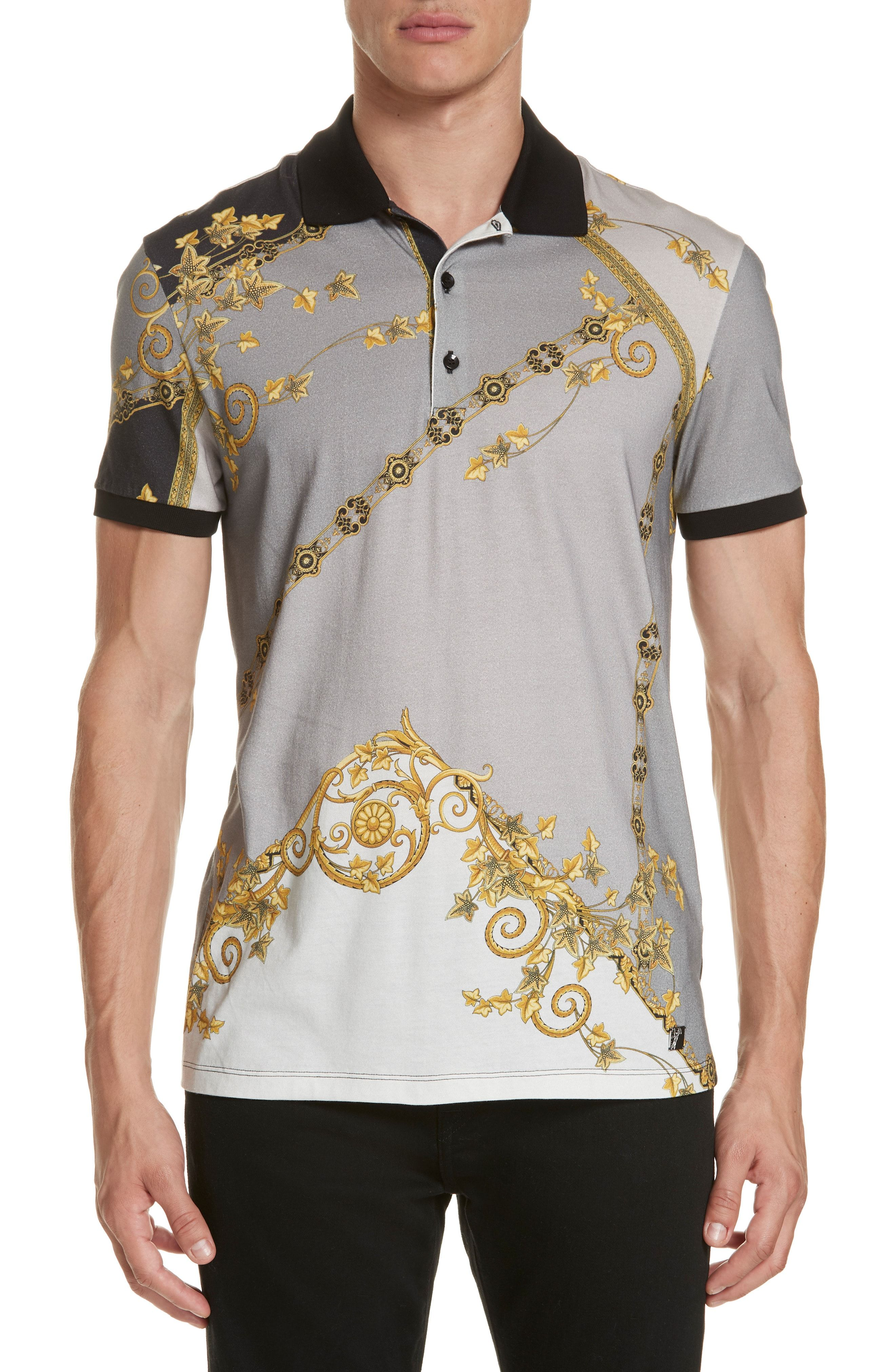 8a8ad2dd82 VERSACE PRINT JERSEY POLO. #versace #cloth | Versace in 2019 | Polo ...