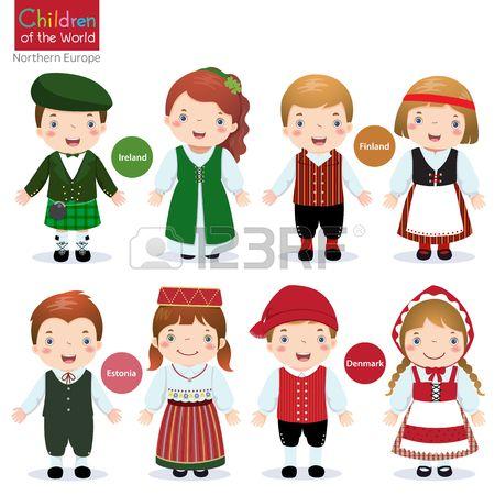 Los niños en traje tradicional Irlanda, Finlandia, Estonia y ...