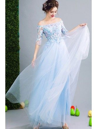 e4f79808468 Fairy Blue Floral Prom Dress Beaded With Off Shoulder Sleeves ...