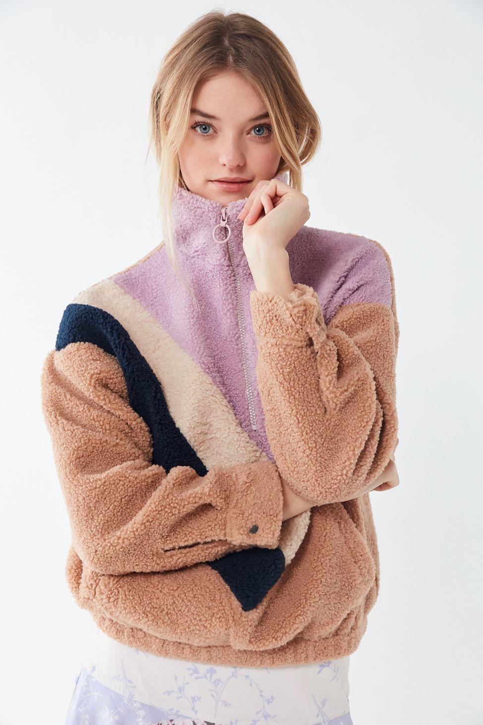 UO Colorblock Teddy HalfZip Pullover Sweatshirt Fashion