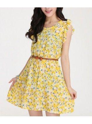 Lotus Sleeved Floral Dress