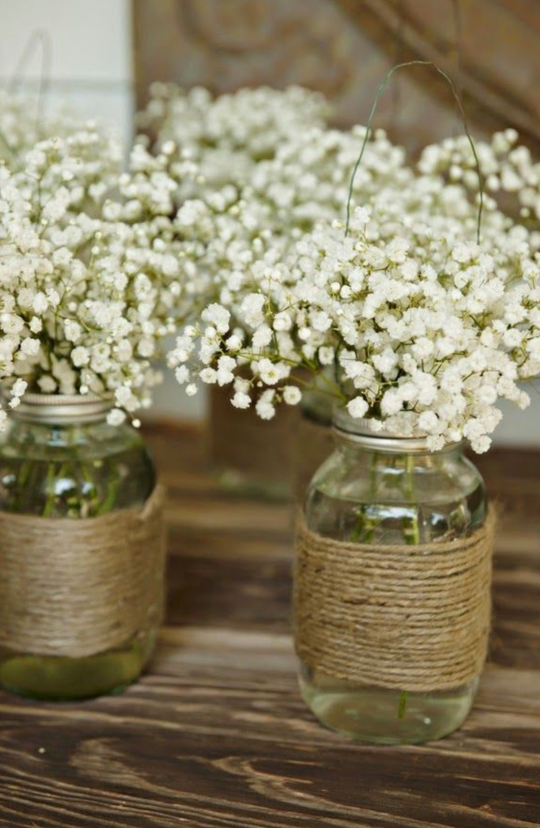 Mason jar wedding decoration ideas  These are simple and pretty  häät  Pinterest  Gypsophila