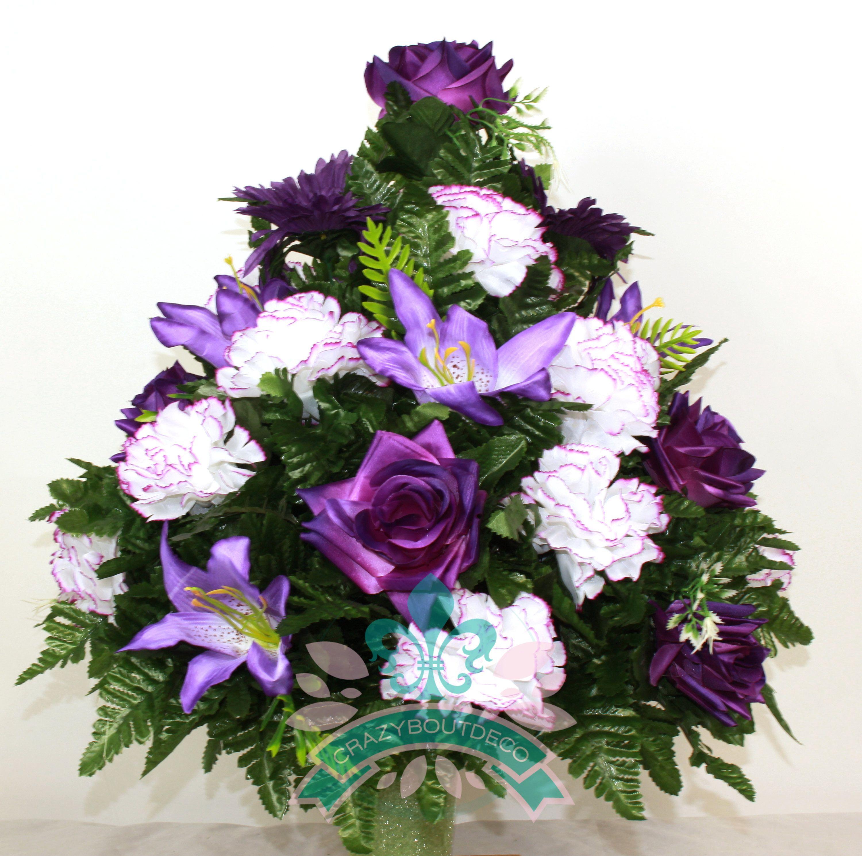 Beautiful Xl Spring Mixture Cemetery Vase Arrangement For 3 Inch