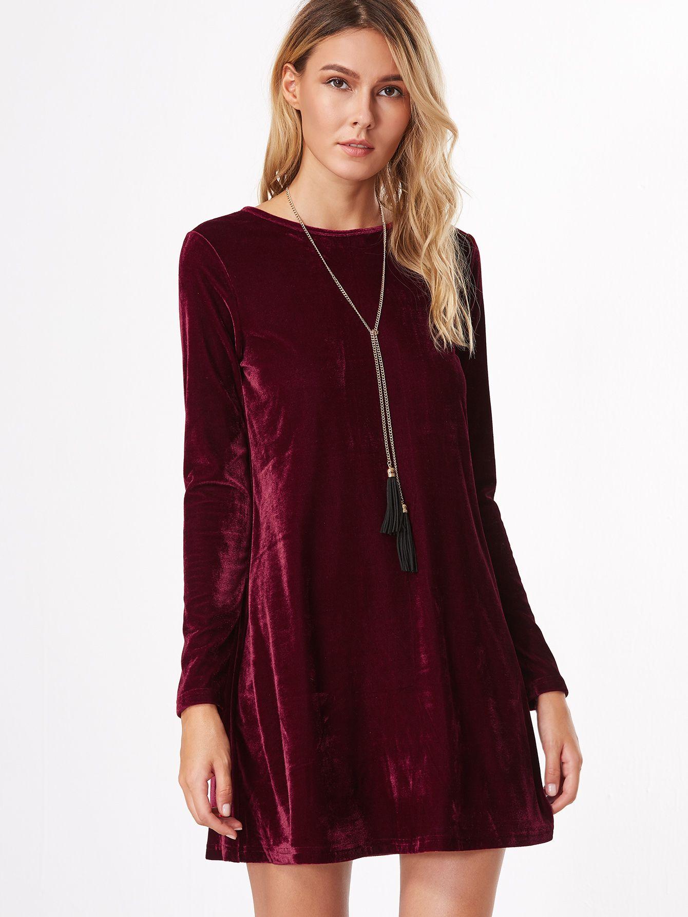 Shop burgundy long sleeve velvet tunic dress online shein offers