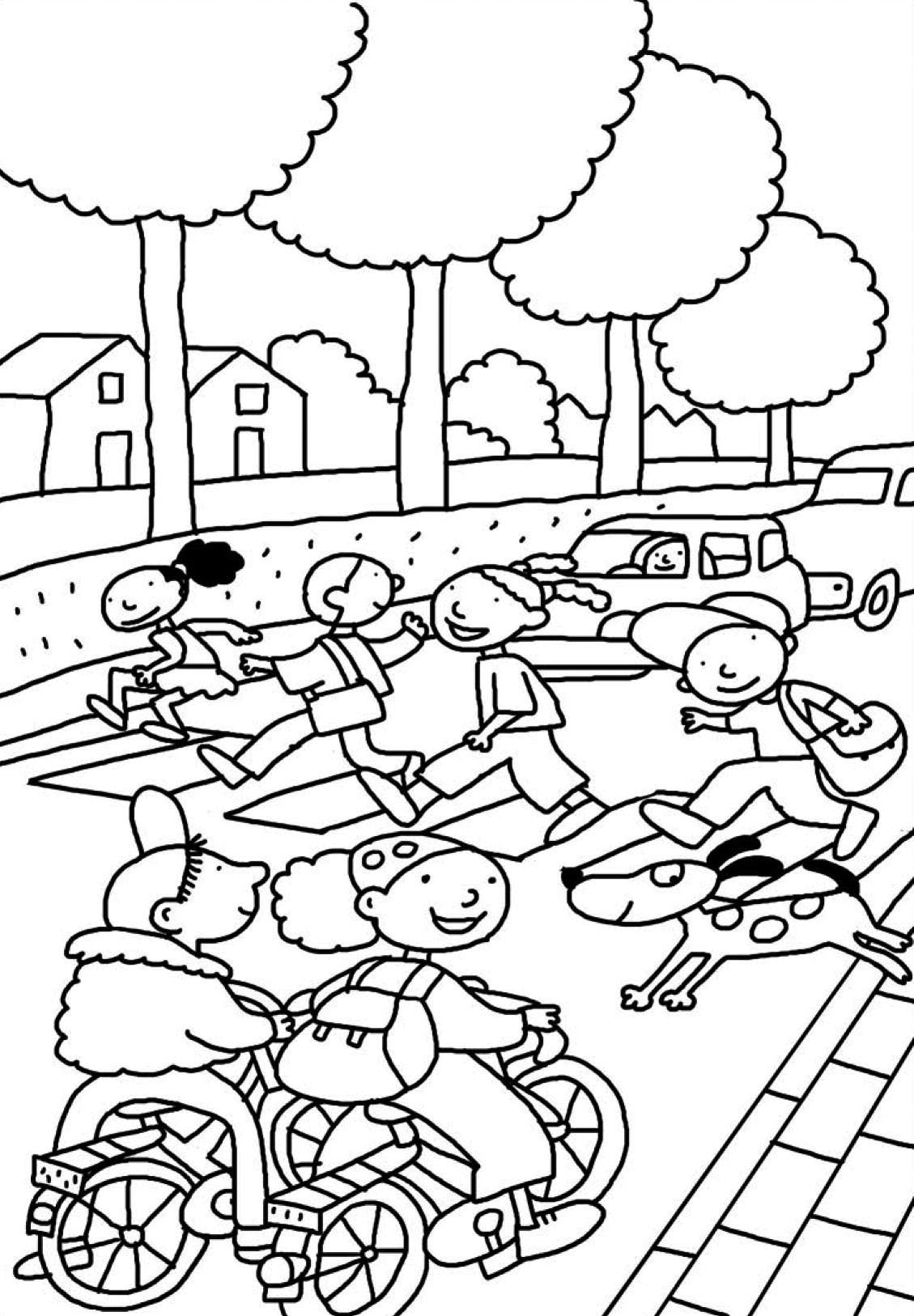Thema verkeer -> kleurplaat fiets | Na drodze (Road Safety Theme ...