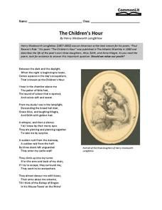 The Children S Hour 7th 12th Grade Worksheet Poetry Text Based Questions Paraphrase Of