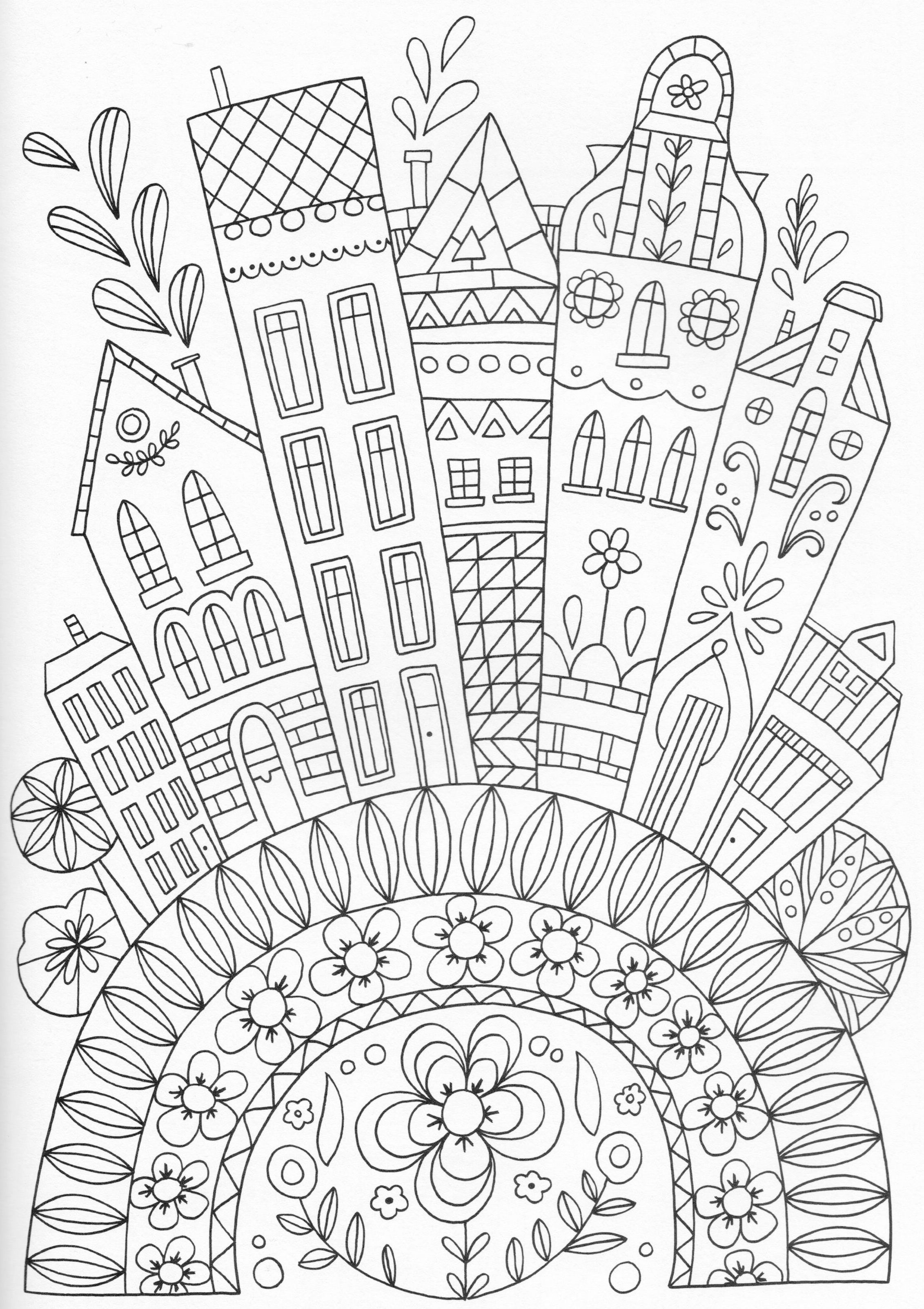 Scandinavian Coloring Book Pg 32 Color pages Stencils