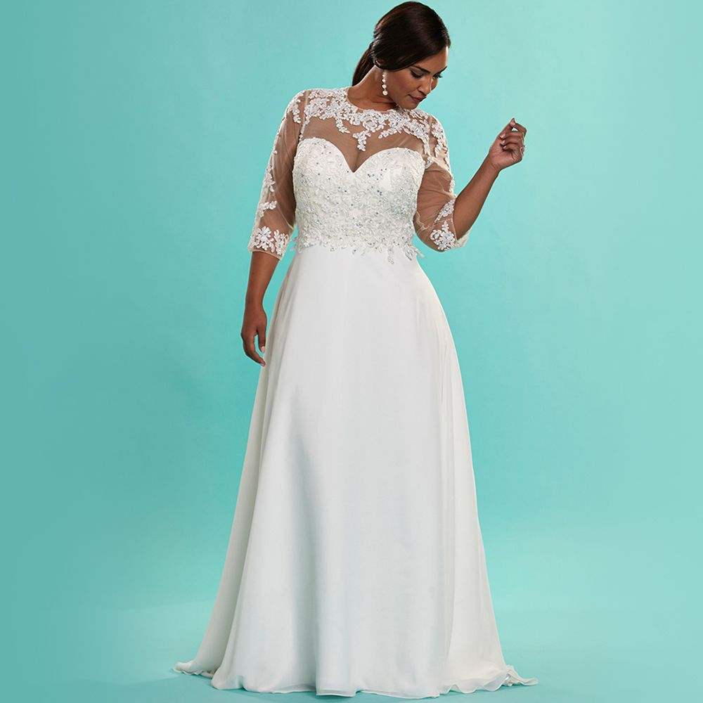 Vintage ivory chiffon plus size wedding dresses with sleeves beaded vintage ivory chiffon plus size wedding dresses with sleeves beaded lace wedding dress plus size elegant ombrellifo Gallery