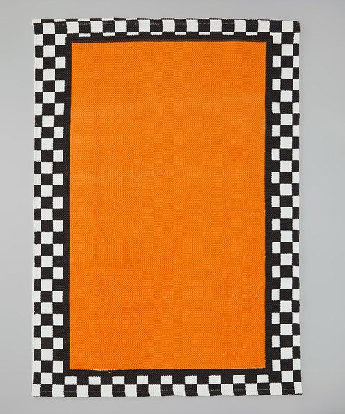 Take a look at this Dennis East International Orange Checkerboard Graphic Rug on zulily today!