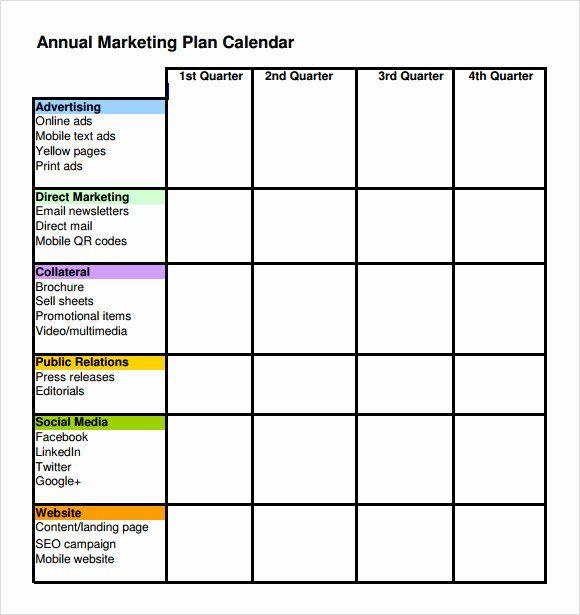Annual Marketing Calendar Template Lovely Annual Marketing Plan