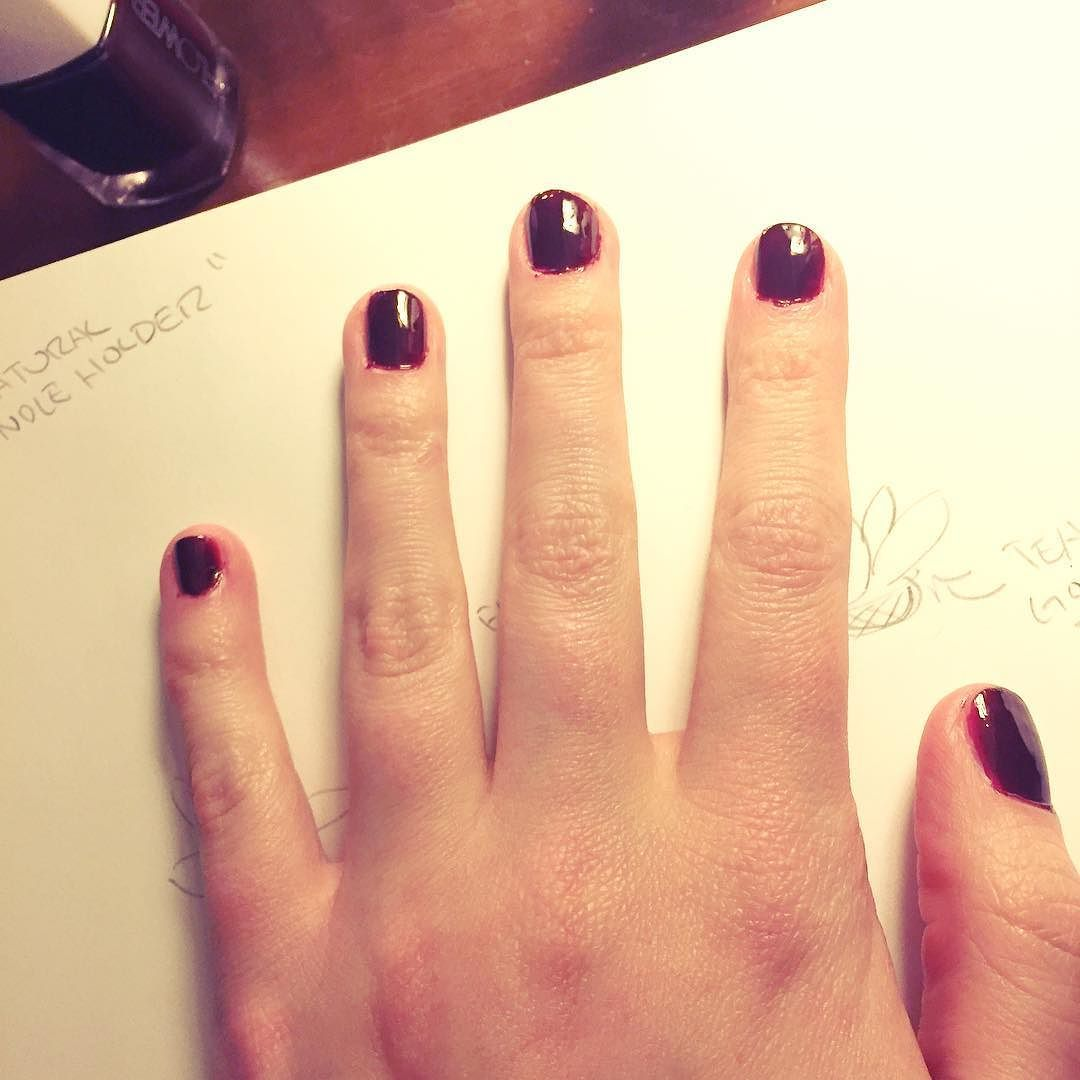 So I love that this basically dark blood red nail polish is called ...