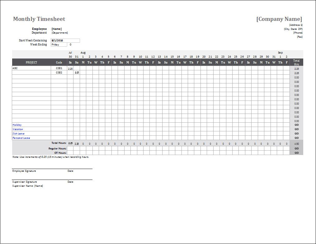 The Awesome Monthly Timesheet Template For Excel And Google Sheets Intended For Weekly Tim Timesheet Template Excel Calendar Template Attendance Sheet Template