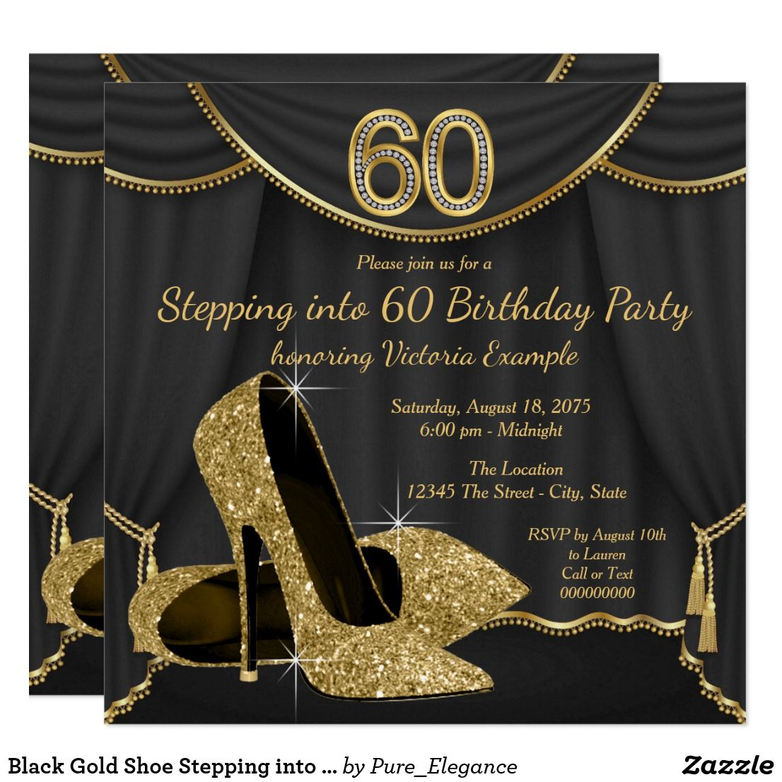 Black Gold Shoe Stepping into 60 Birthday Party Card | Birthdays