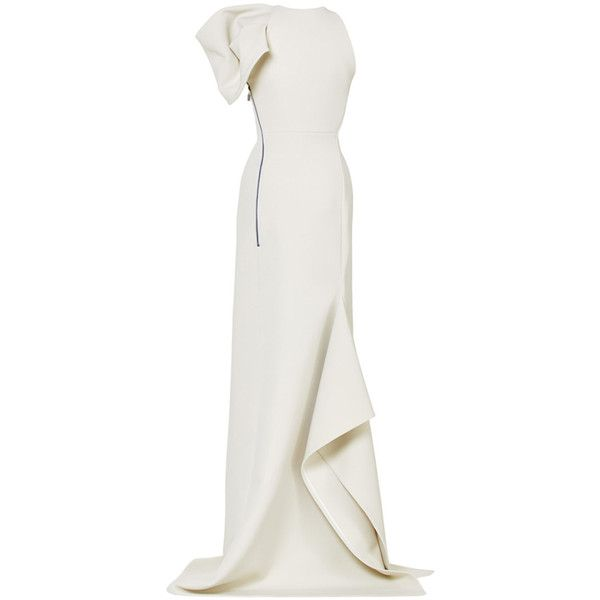 Maticevski     Exclusive Gown (€2.370) ❤ liked on Polyvore featuring dresses, gowns, white slit dress, slit gown, white evening gowns, slit dress and white gown