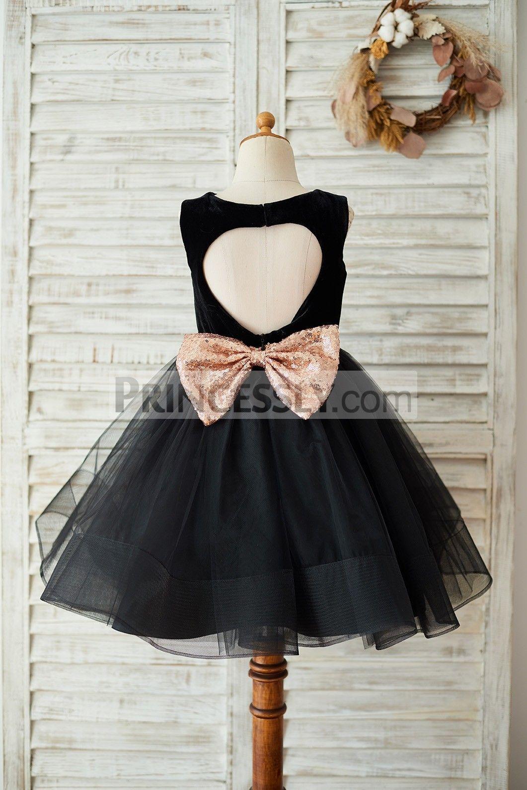 84a01f2adce Black Velvet Tulle Keyhole Back Wedding Flower Girl Dress with Sequin Bow