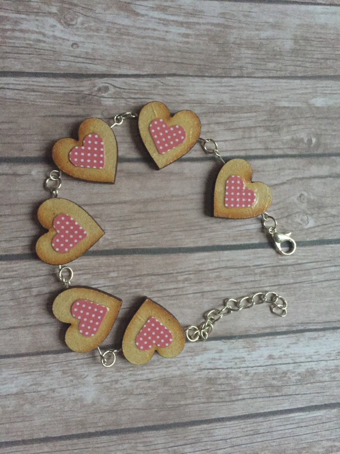Handmade Boho Shabby Chic Wooden Heart Bracelet Statement Unusual Uk First Cl Xmas Gift