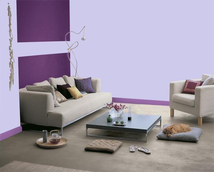 associer couleur meuble gris peinture parme et couleur salon