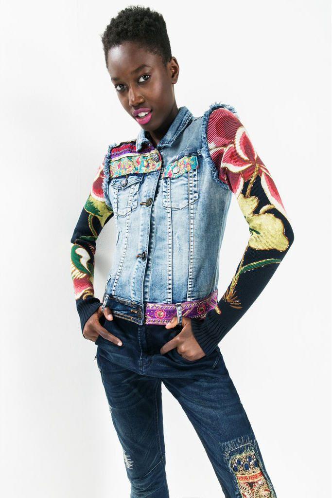 veste ethnic deluxe desigual desigual pas cher veste en jean femme et jeans femme. Black Bedroom Furniture Sets. Home Design Ideas
