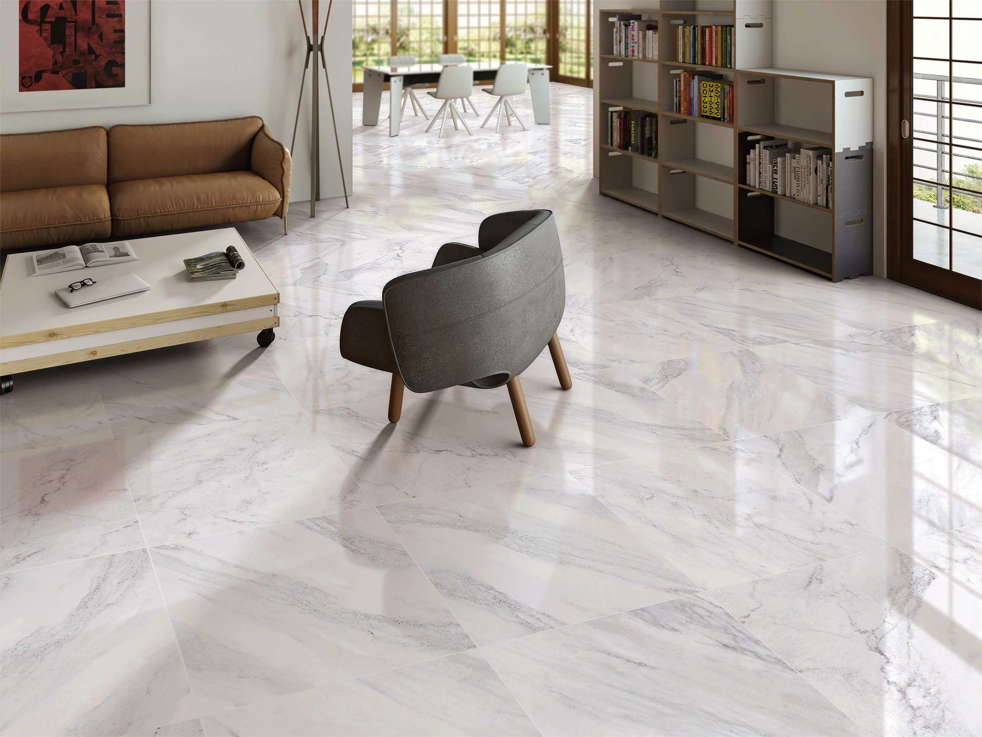 Reflective gloss white 600x600mm carrara marble effect porcelain reflective gloss white 600x600mm carrara marble effect porcelain floor tile create an uncluttered feel of dailygadgetfo Images