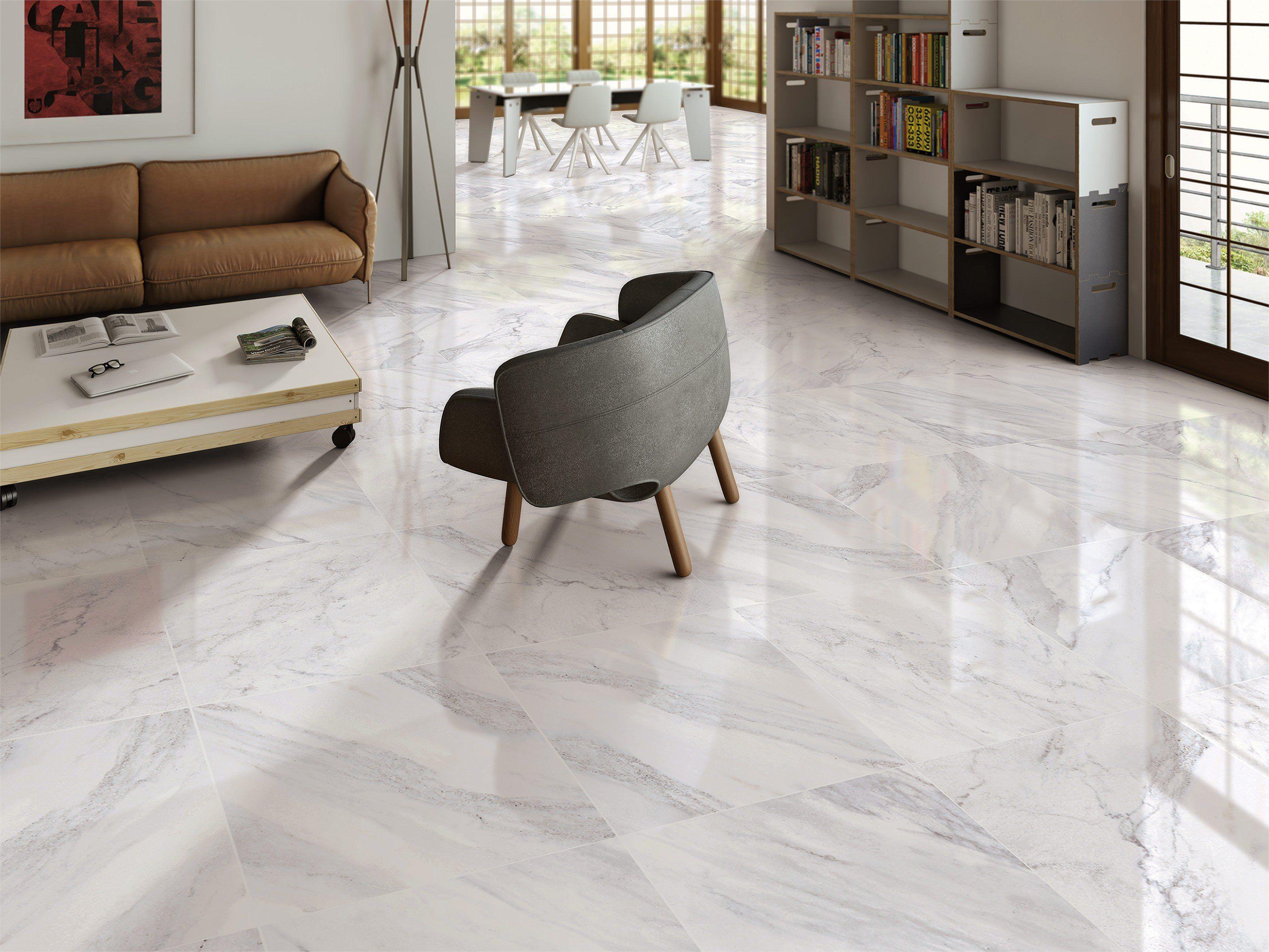 Reflective gloss white 600x600mm carrara marble effect