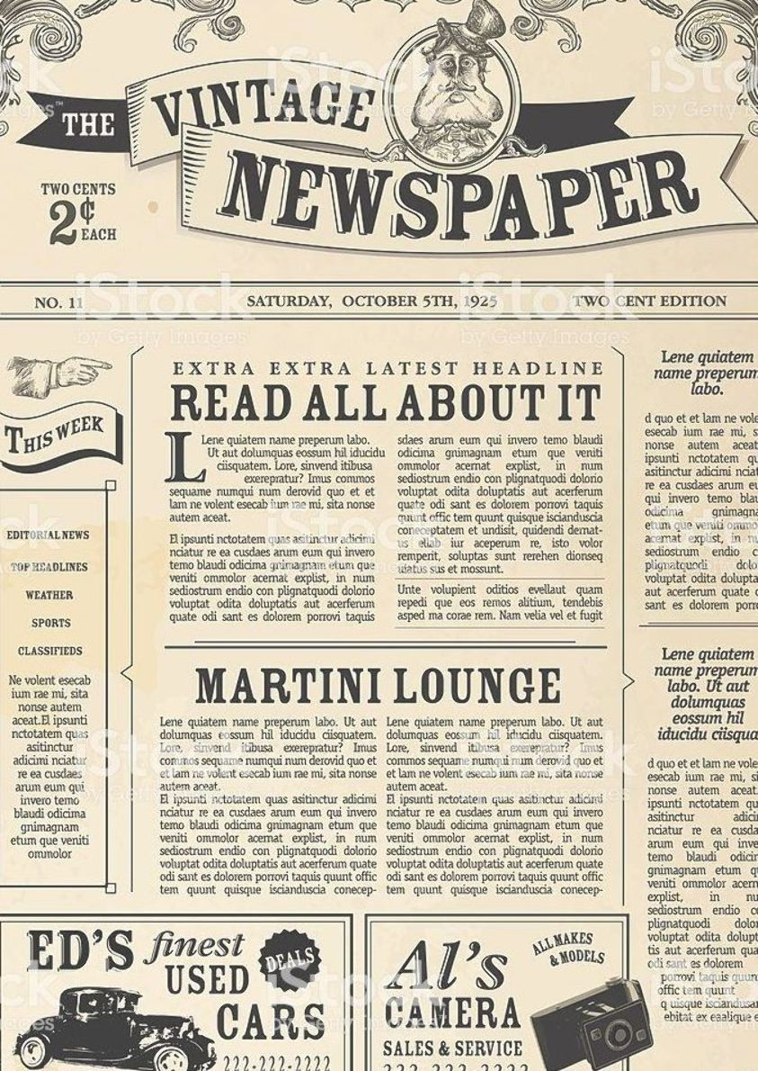 Vintage Newspaper Layout Design Template Royalty Free Vintage Newspaper Layout Design Template Stock Vector Art More Images Of Advertisement