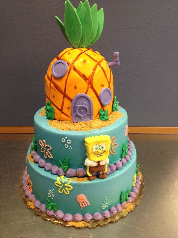 Pineapple Character 3 Tier Cake So cute Made by Chef Tiffany